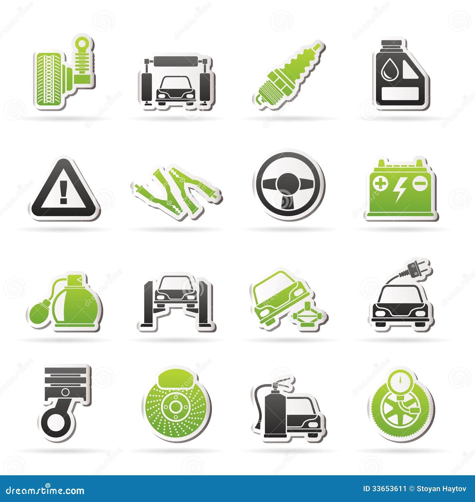 Auto En Weg De Dienstenpictogrammen Vector Illustratie Illustratie