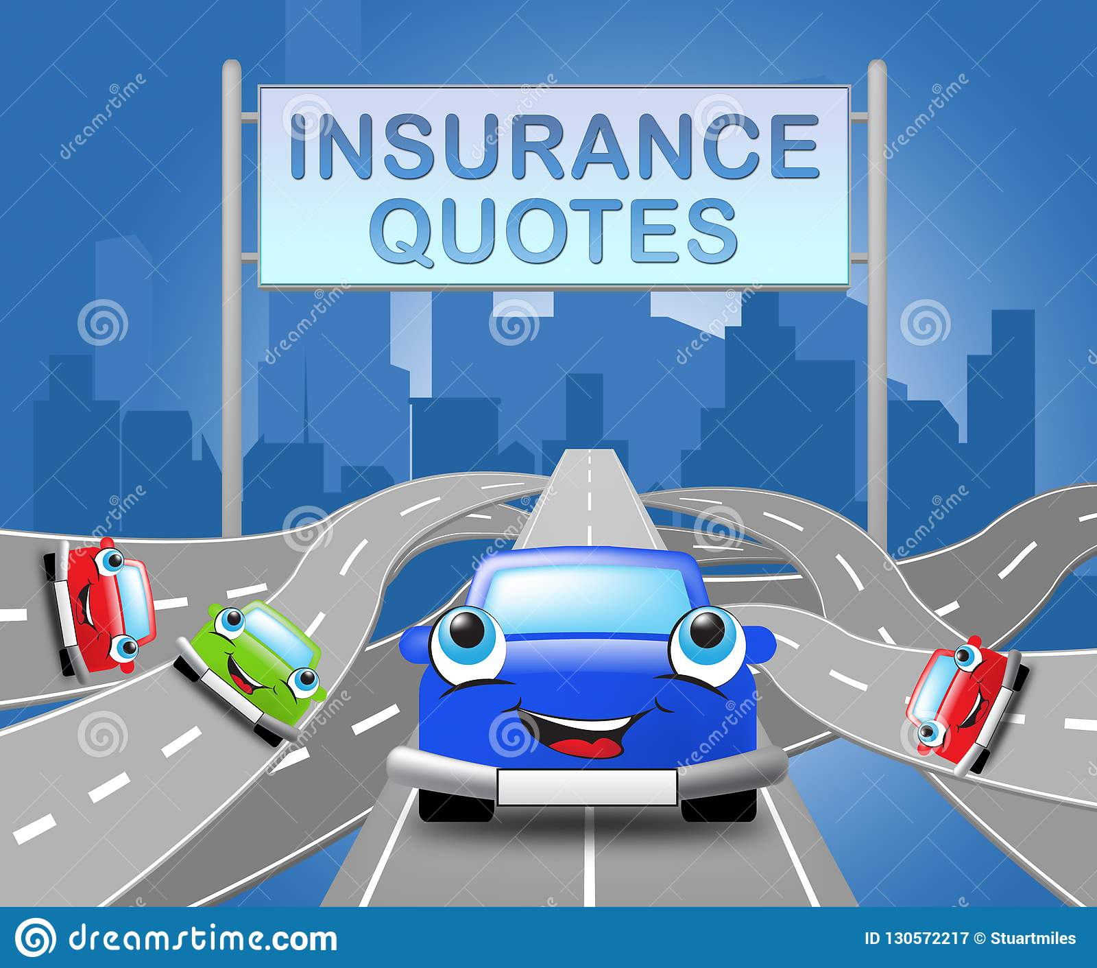 Auto Insurance Quotes Shows Car Policy 3d Illustration ...