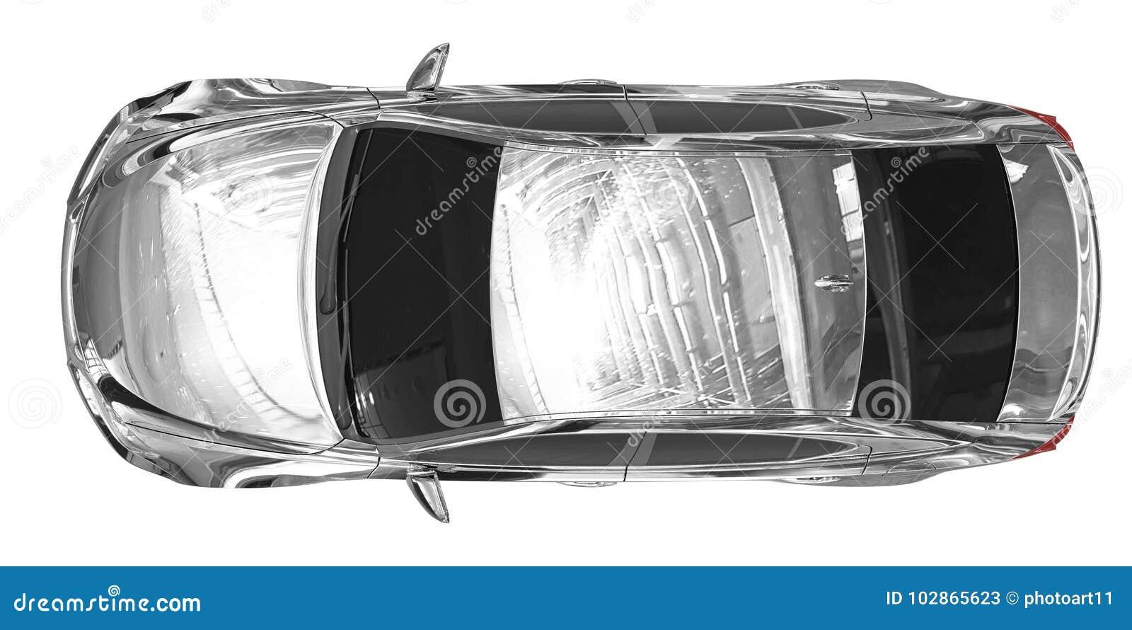 Auto lokalisiert auf weiß- Chrom, abgetönte Glasplatteansicht