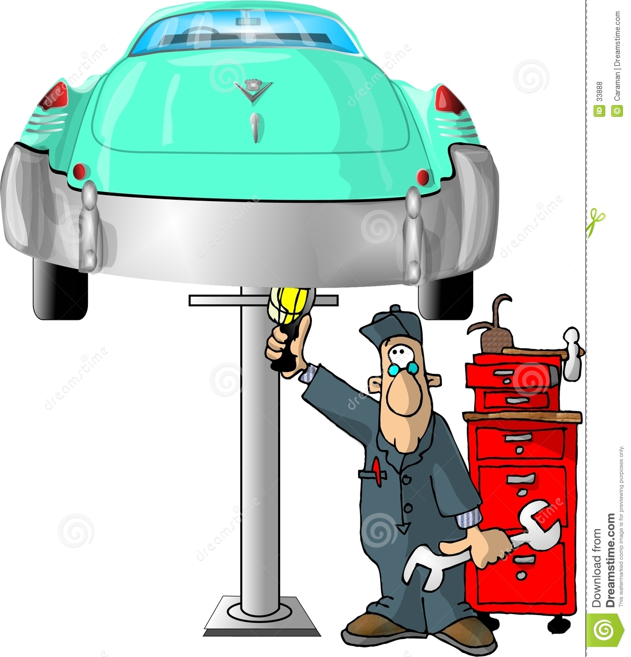 This illustration that I created depicts an auto mechanic checking a ...