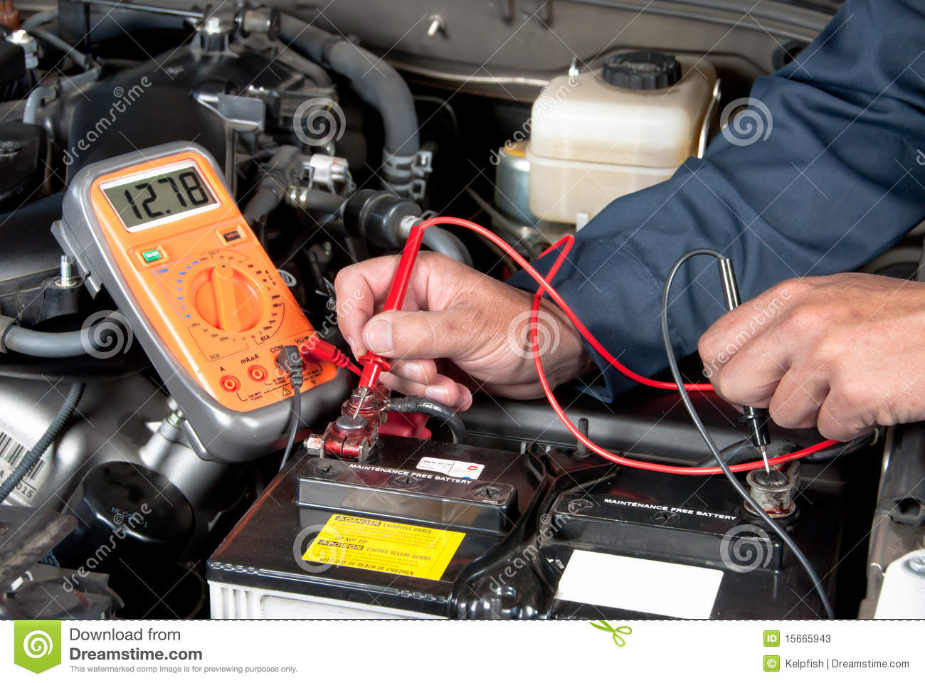 Checking A Car Battery With Multimeter