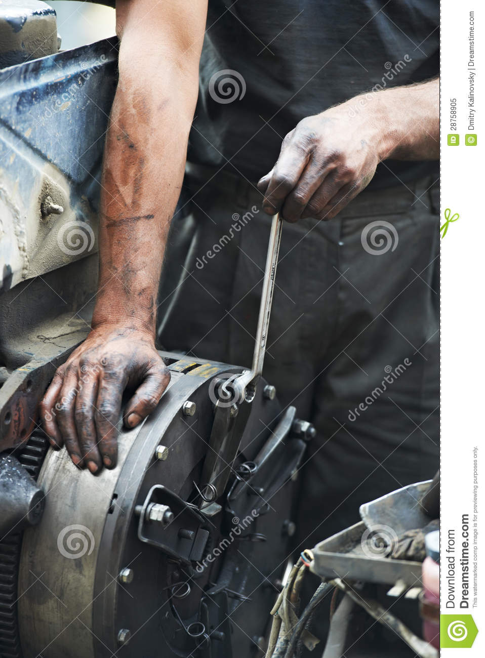 auto mechanic hands at car repair work royalty free stock photo image 28758905. Black Bedroom Furniture Sets. Home Design Ideas