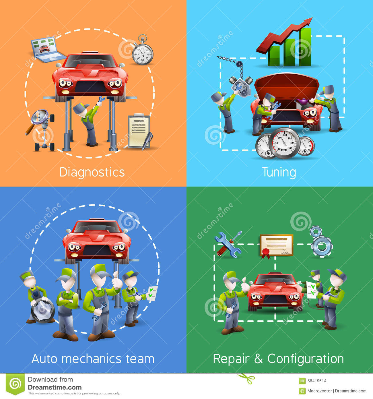 auto mechanic 4 icons square banner stock vector image 58419614. Black Bedroom Furniture Sets. Home Design Ideas