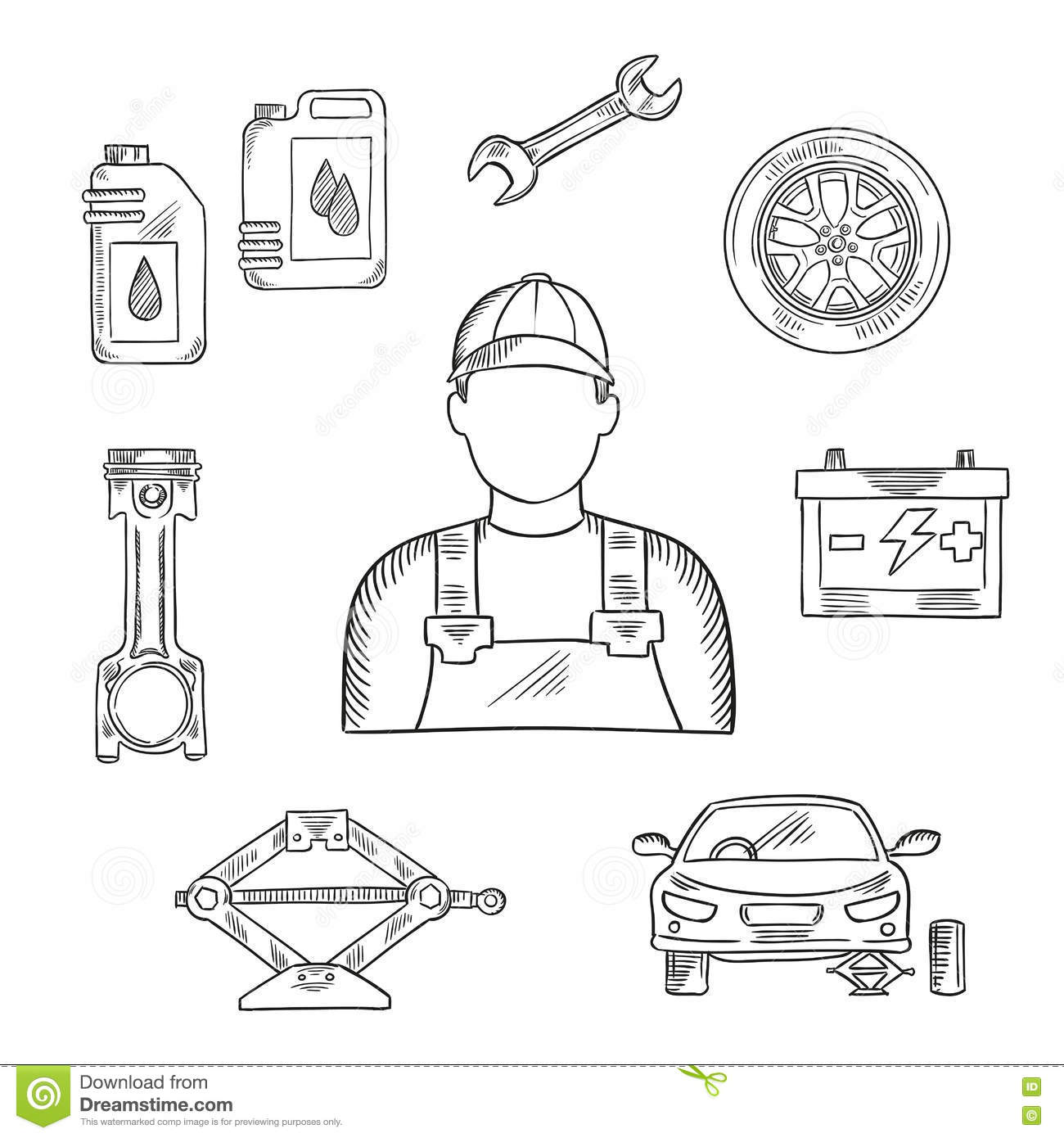 Auto Mechanic Profession Sketch Symbol Stock Vector