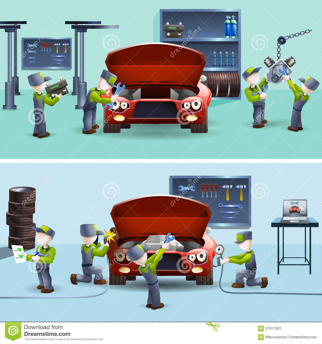 Auto mechanic service flat banners set stock vector for Garage fast auto sarcelles