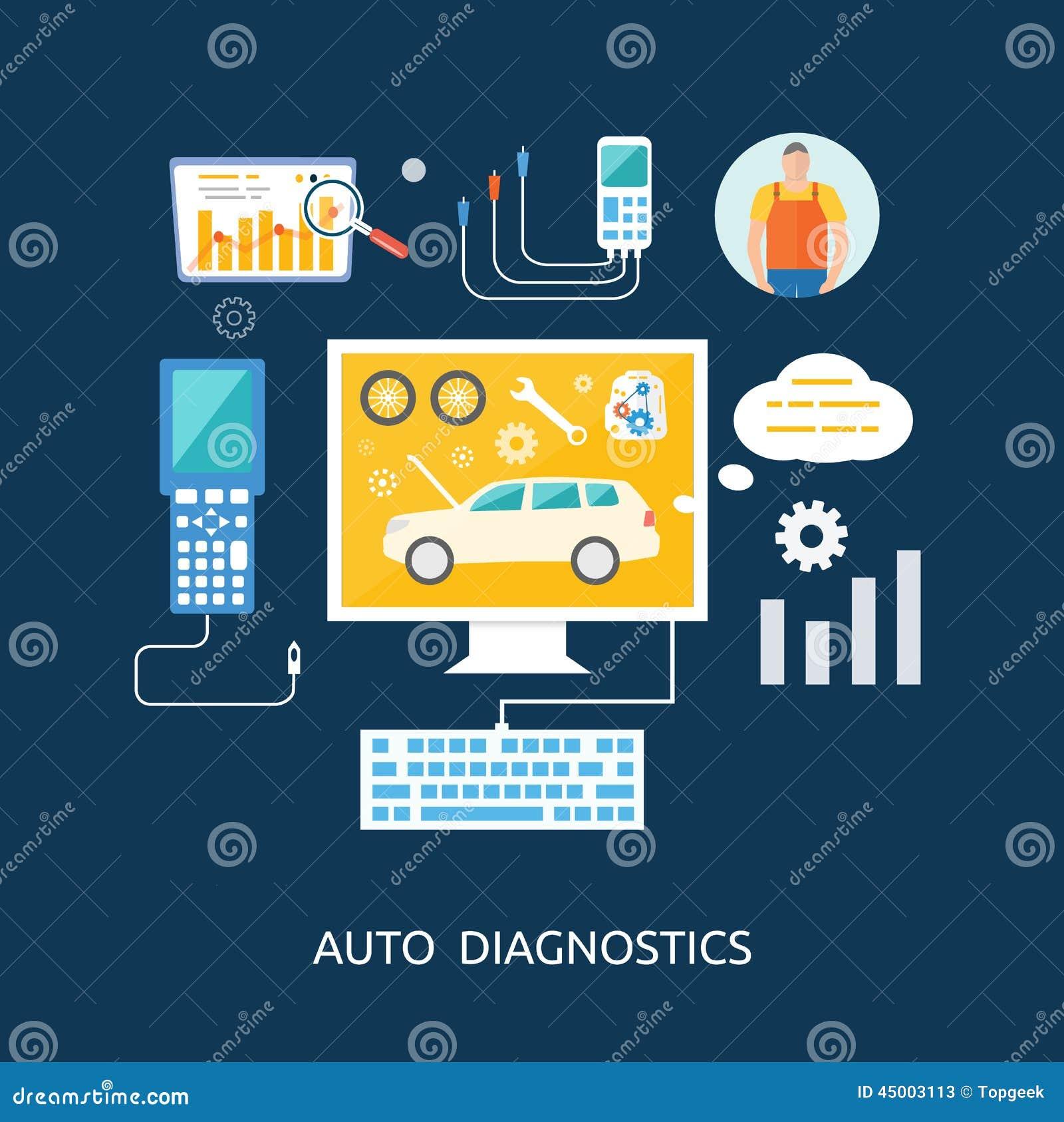 Auto Mechanic Service Flat Icons Of Maintenance Stock Vector