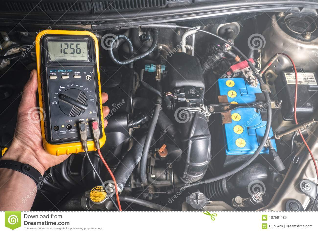Auto Mechanic Use Digital Multimeter Check Voltage Battery Stock