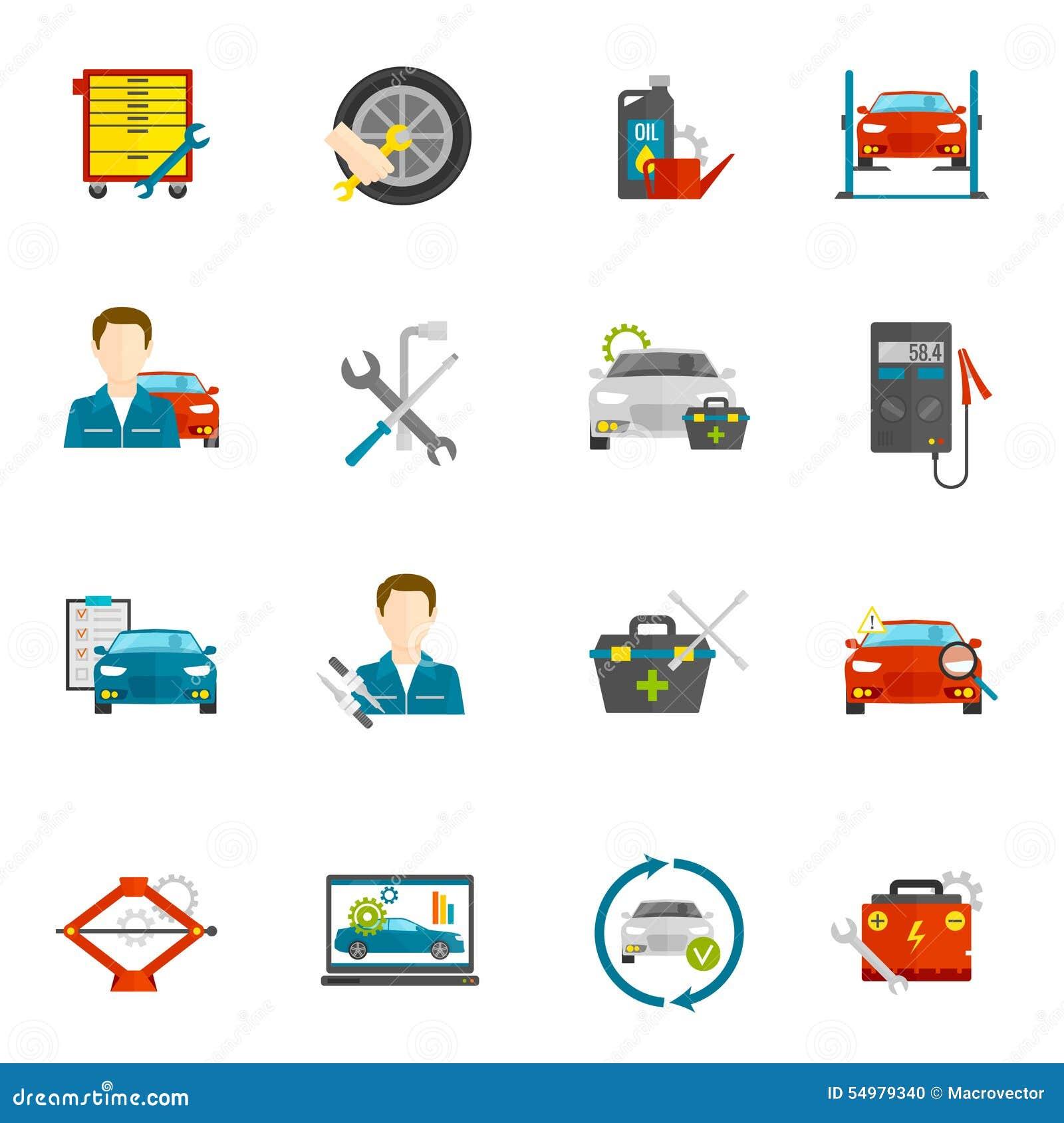 Auto mekaniker Flat Icons Set