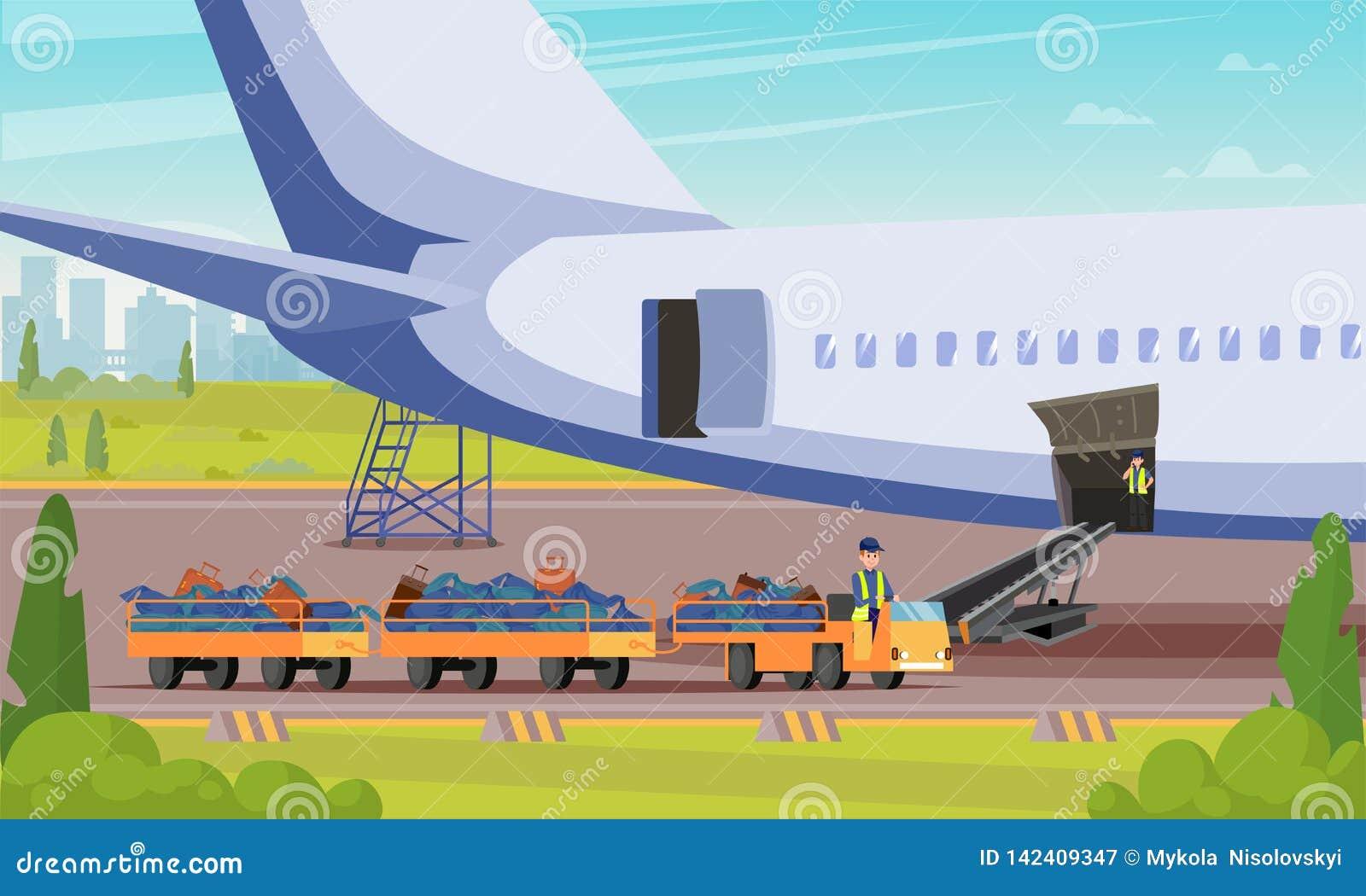 Auto met de Vlakke Illustratie van Bagagepassagiers