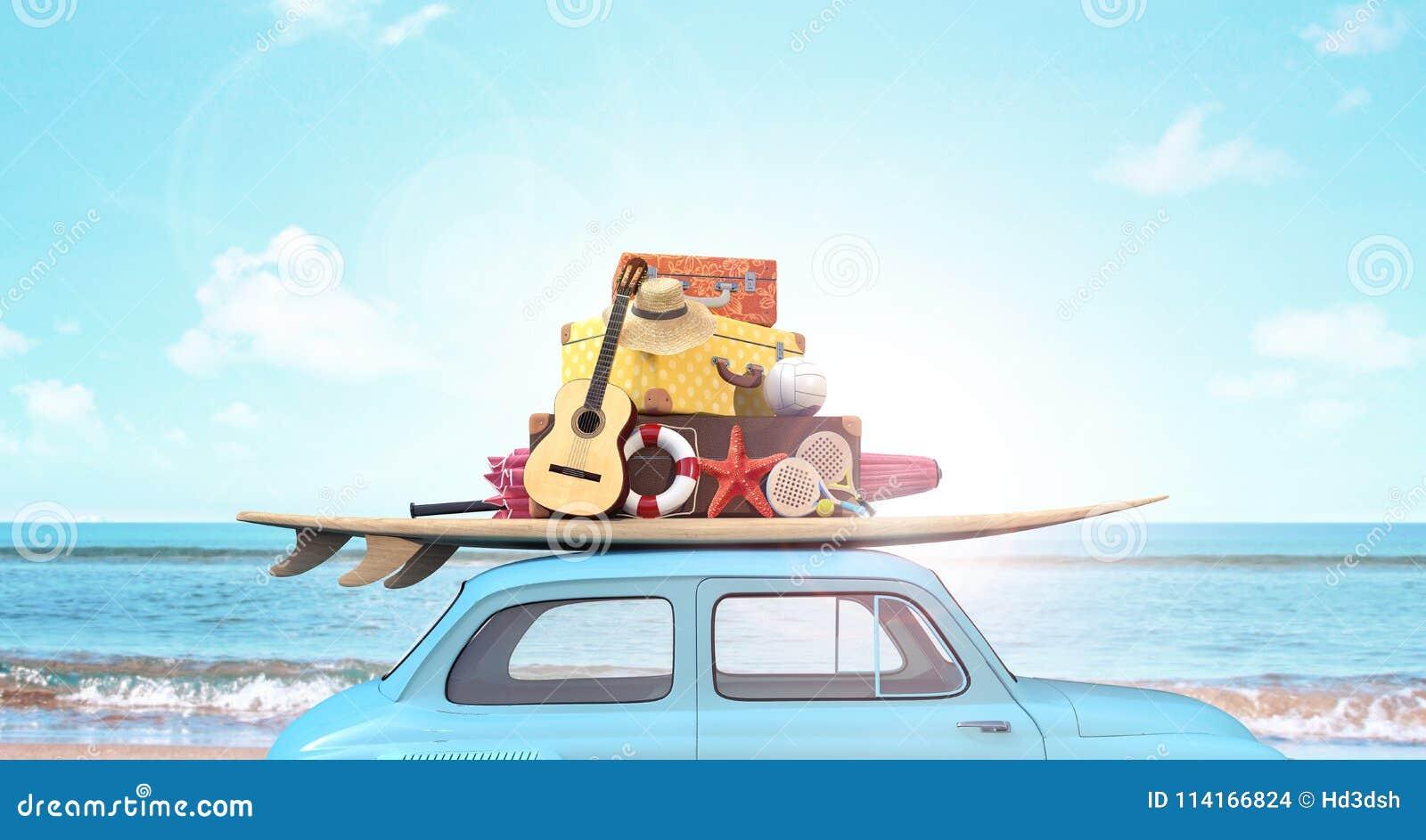 Auto mit Gepäck auf dem Dach bereit zu den Sommerferien