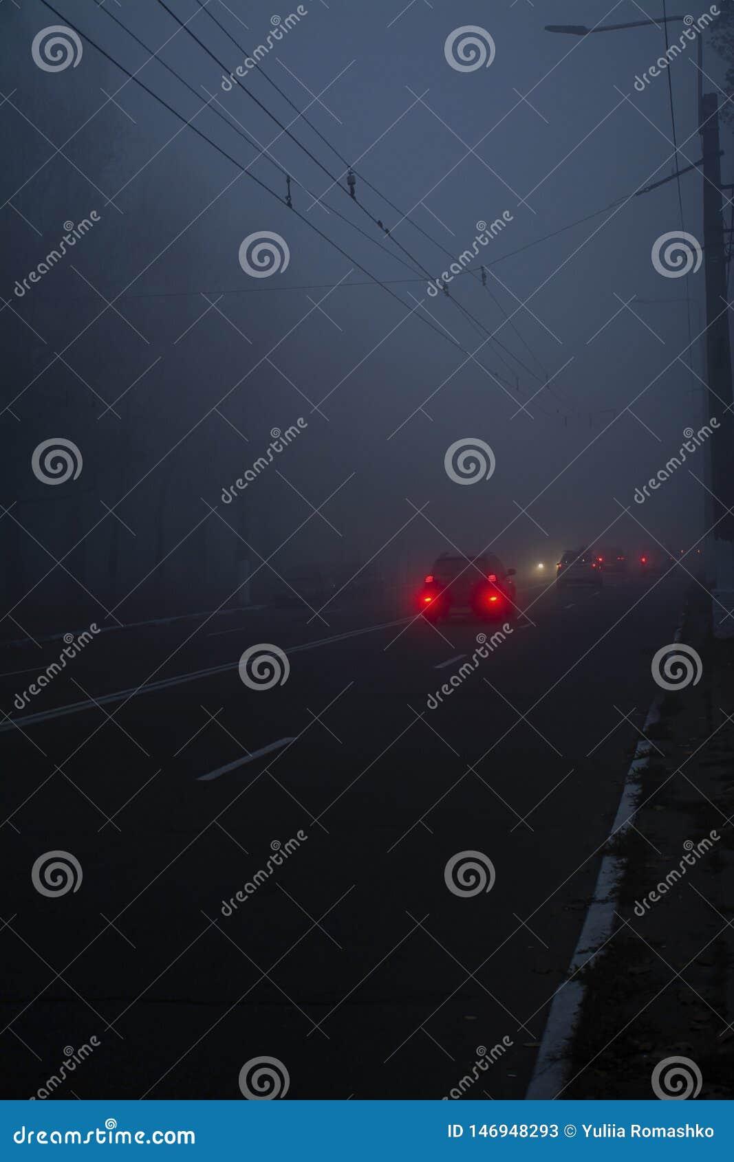 Auto op de weg in de mist Autumn Landscape