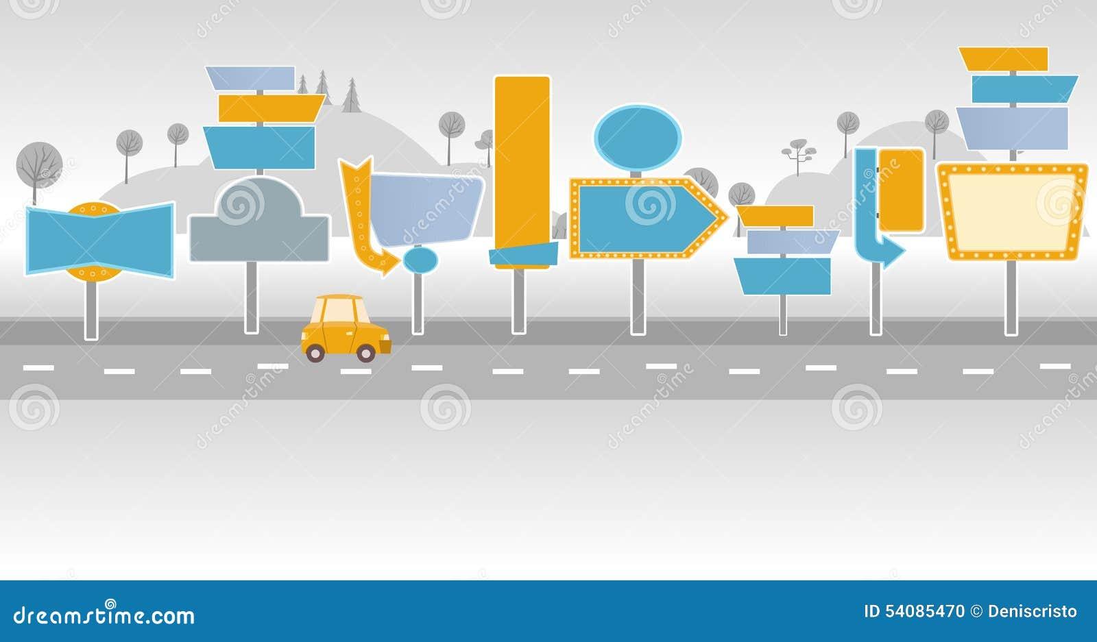 Auto op een weg met aanplakborden