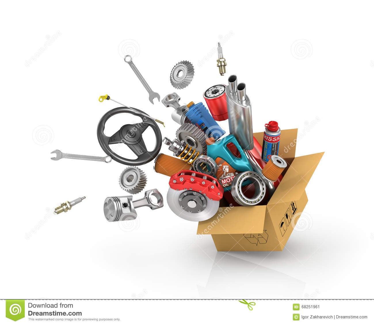 Auto Parts In The Card Box. Stock Image