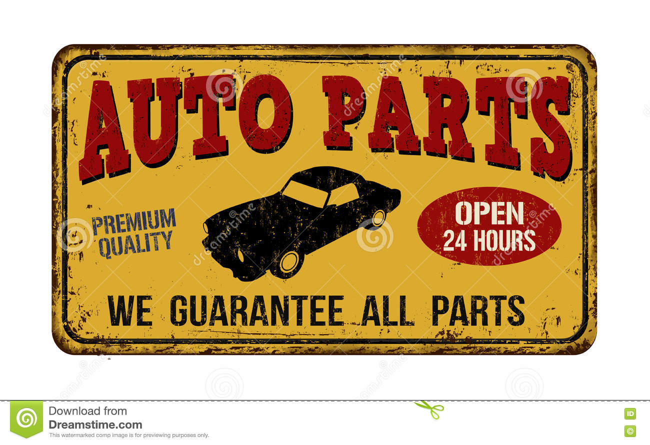 Auto Parts Vintage Metal Sign Stock Vector - Illustration: 78308990