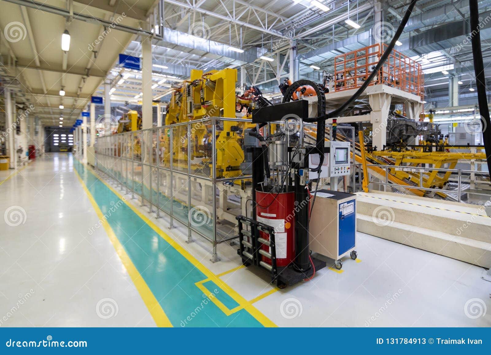 Auto productieinstallatie Automobielwinkel De lopende band voor de productie van auto s