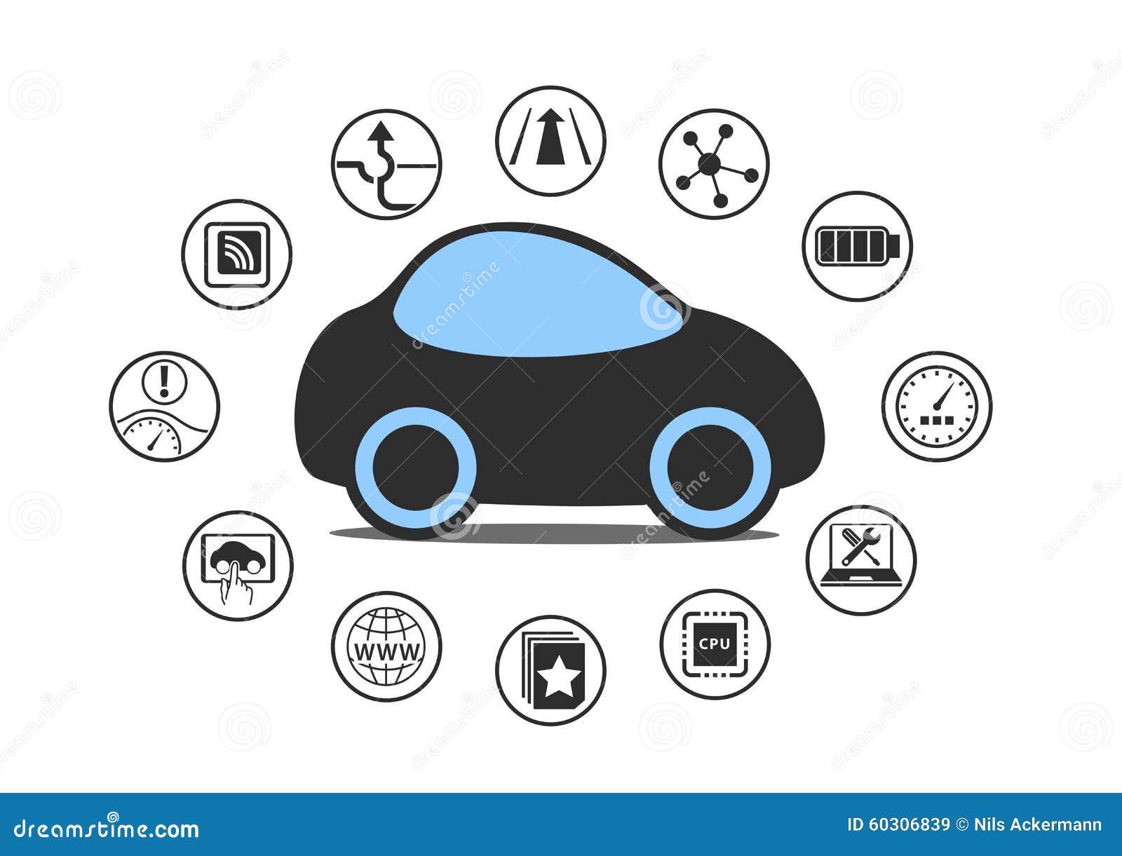 Auto que conduz o conceito do carro e do veículo autônomo O ícone do carro driverless com sensores gosta do auxílio da pista, cab