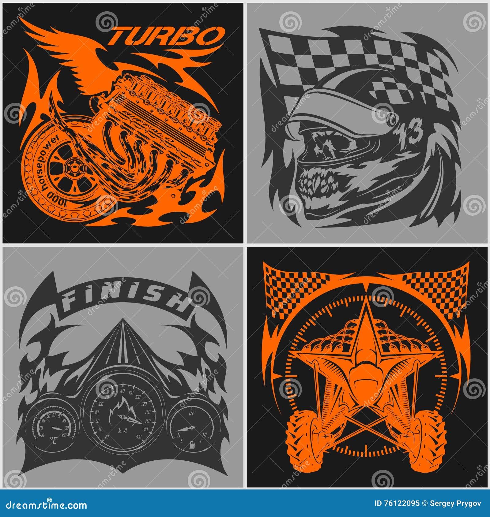 Auto Racing Emblems Sport Car Logo Illustration On Dark And Light