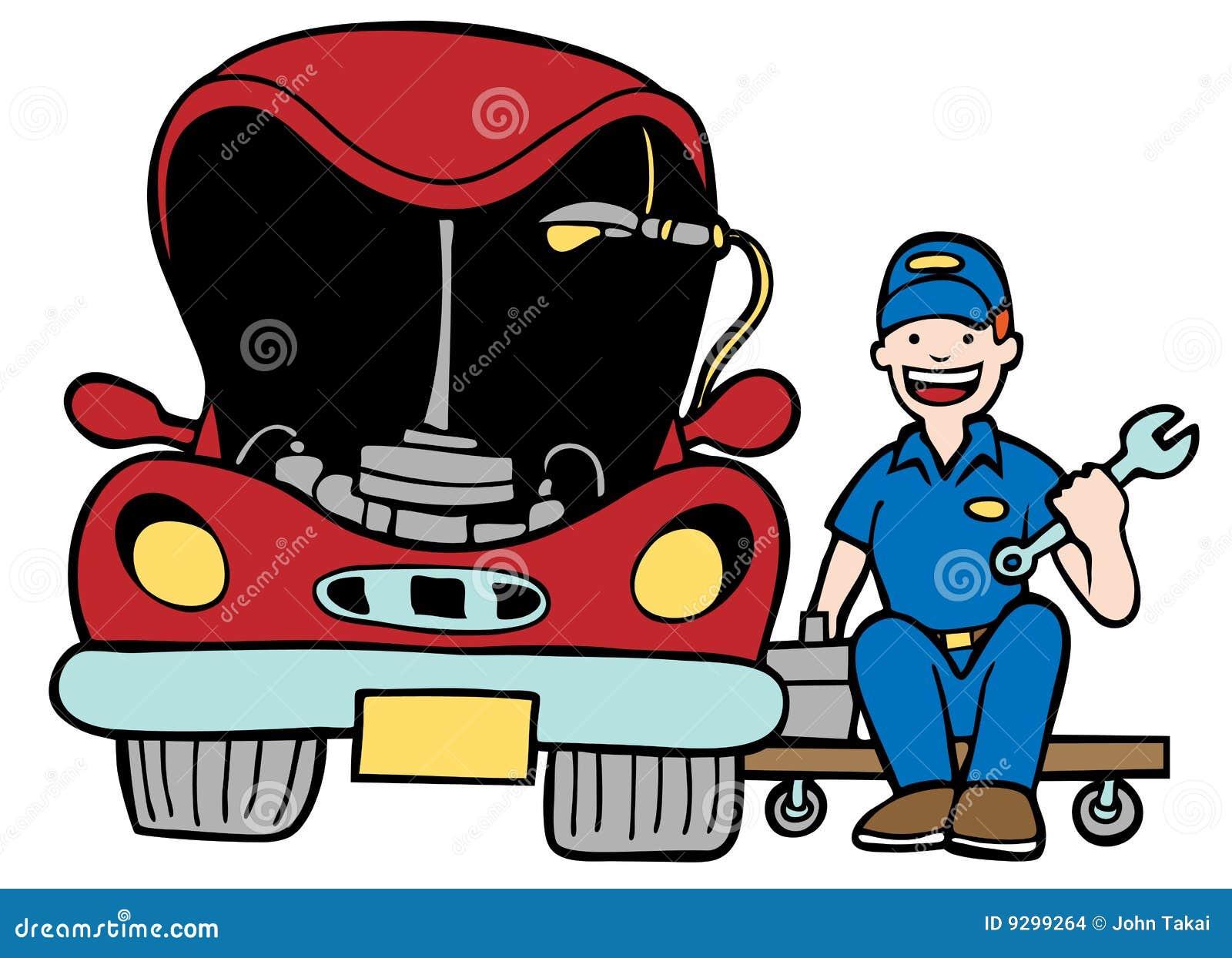 fixing a car clipart