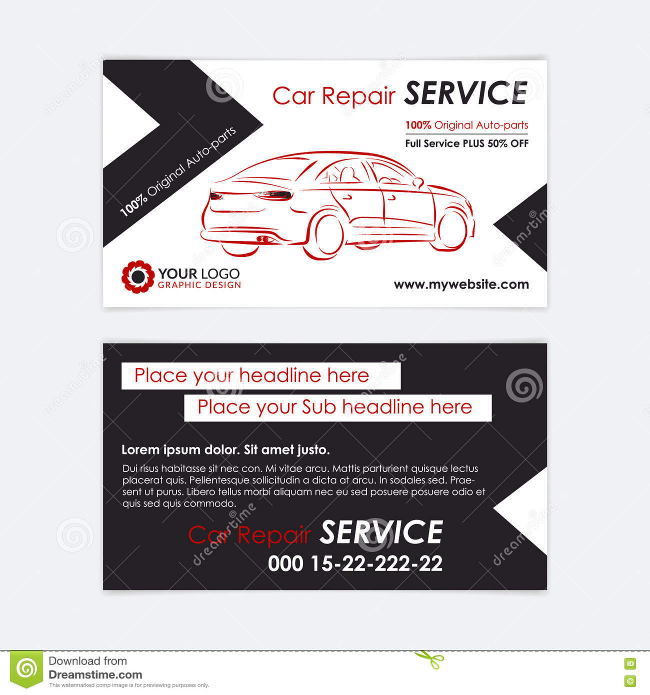 Auto repair business card template create your own business cards download auto repair business card template create your own business cards stock vector accmission Images