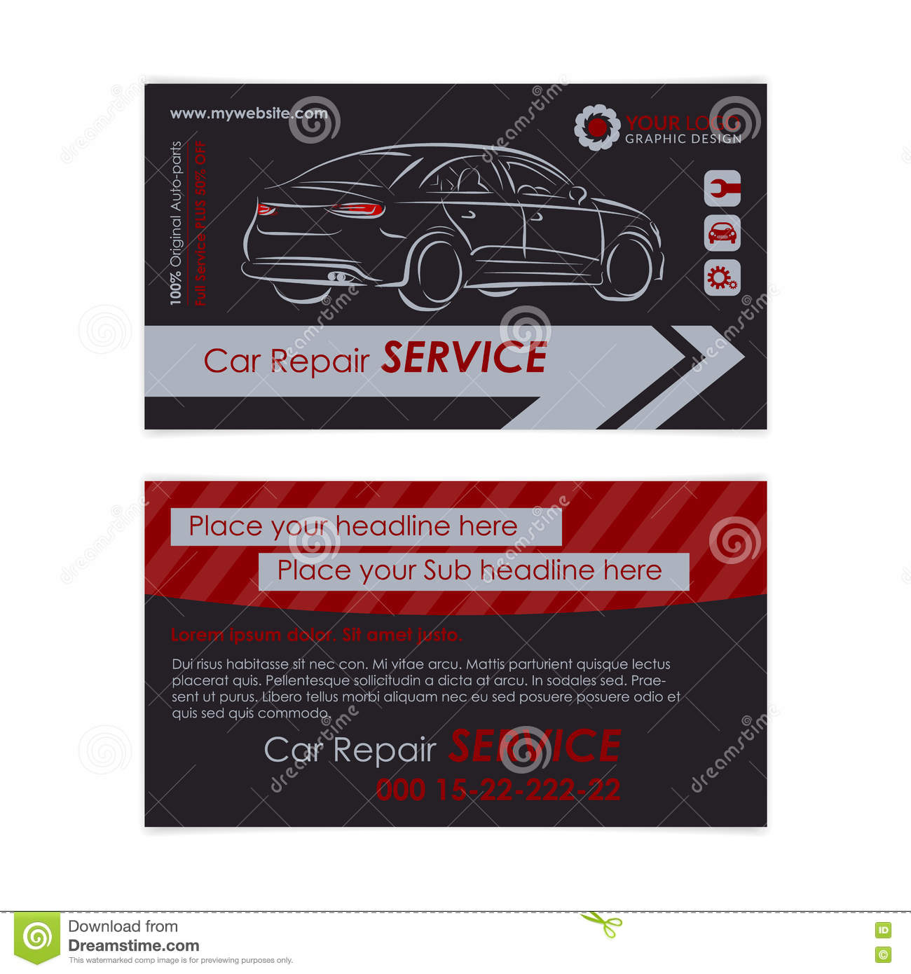 auto repair business card template create your own