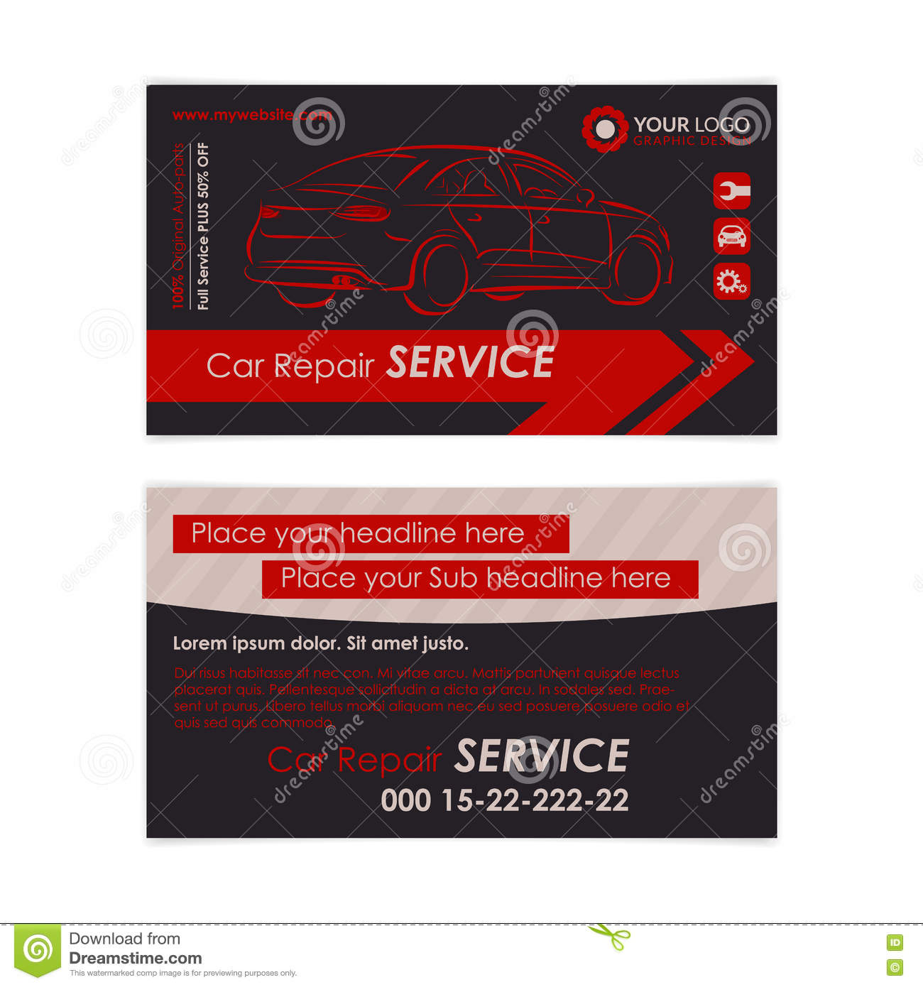 Auto repair business card template create your own business cards create your own business cards idea graphic royalty free vector reheart Gallery