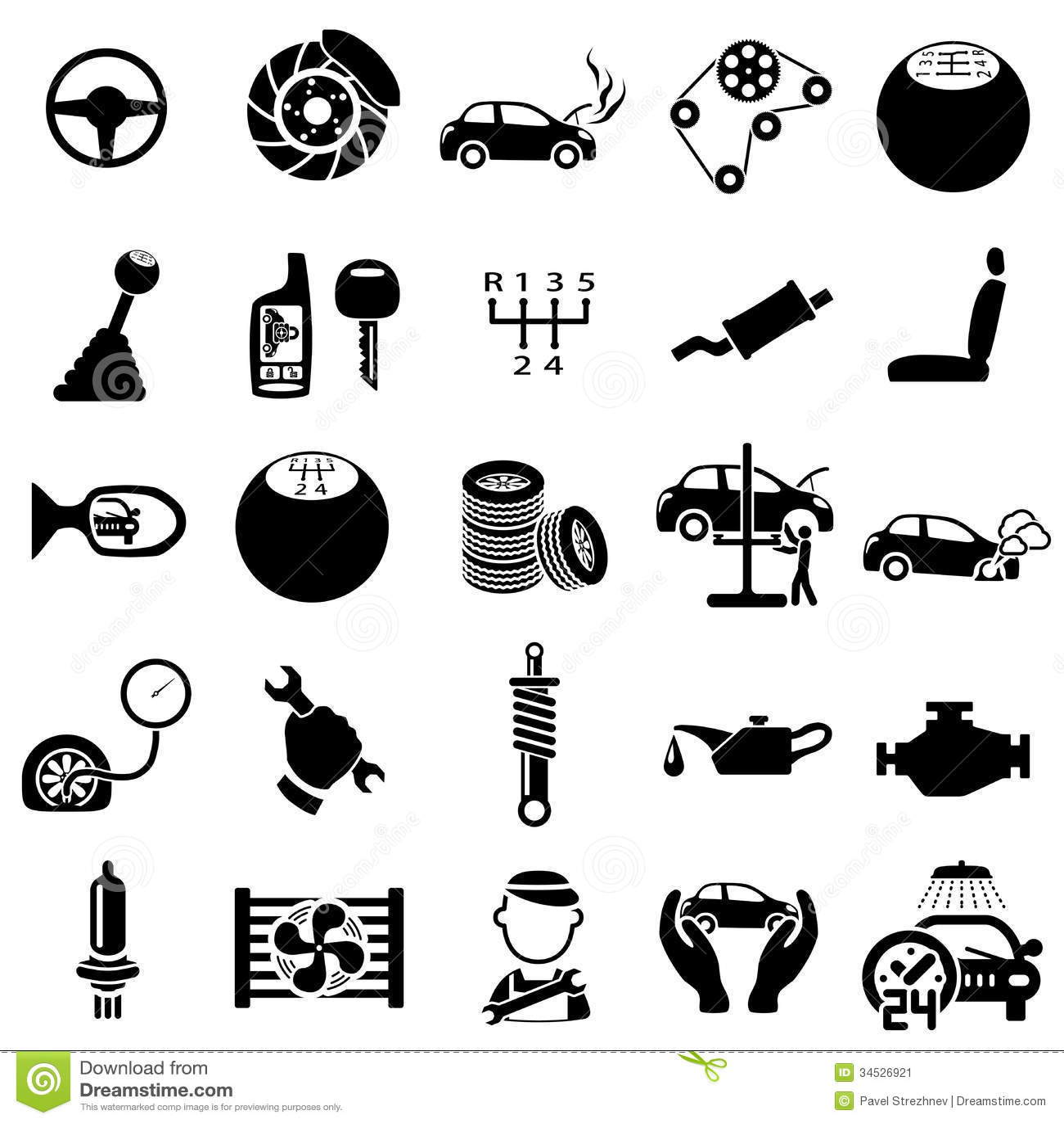 Auto Repair Parts : Auto repair icons stock vector image of pump service