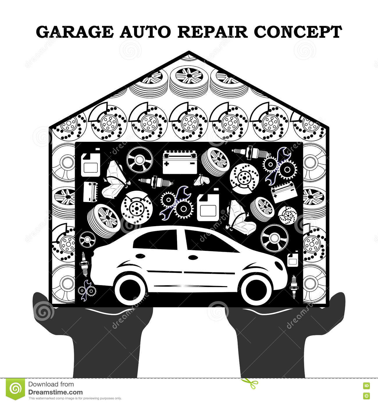 Icons for the garage and car repair royalty free stock for Auto p garage roussillon