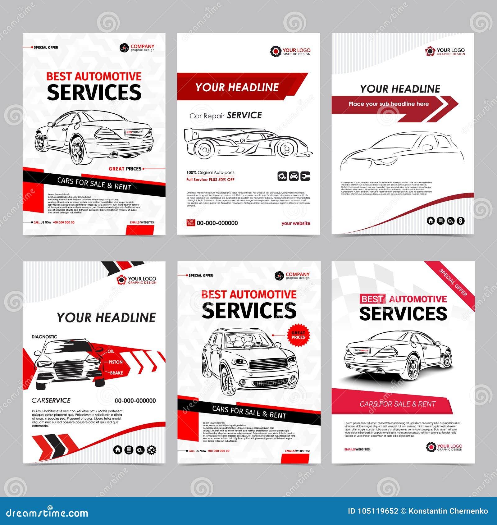 auto repair services business layout templates set automobile