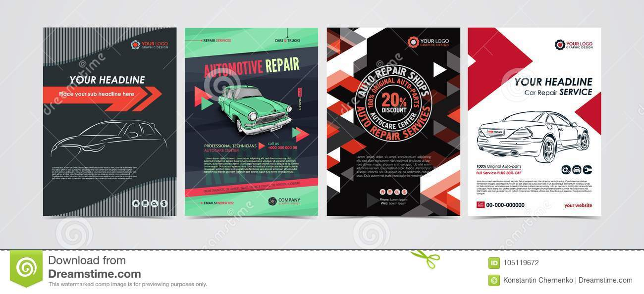 auto repair services business layout templates set cars for sale