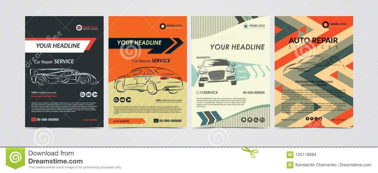 Auto Repair Services Business Layout Templates Set, Cars For Sale ...