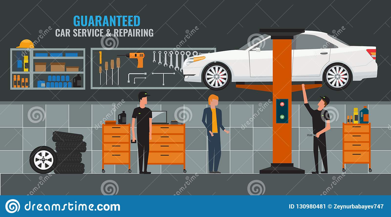 Auto repair shop interior with mechanics or masters working and fixing cars, professional service. Car on the lift