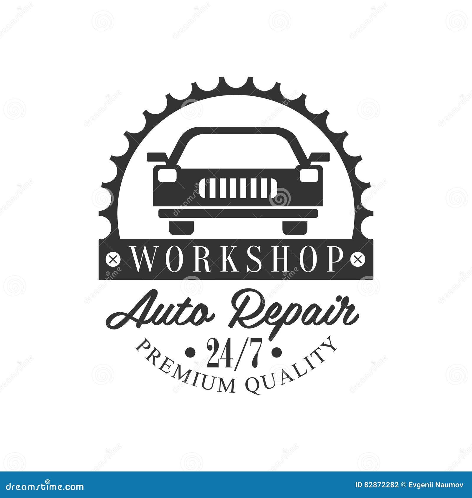 Design car repair workshop - Auto Repair Workshop Black And White Label Design Template With Car Silhouette
