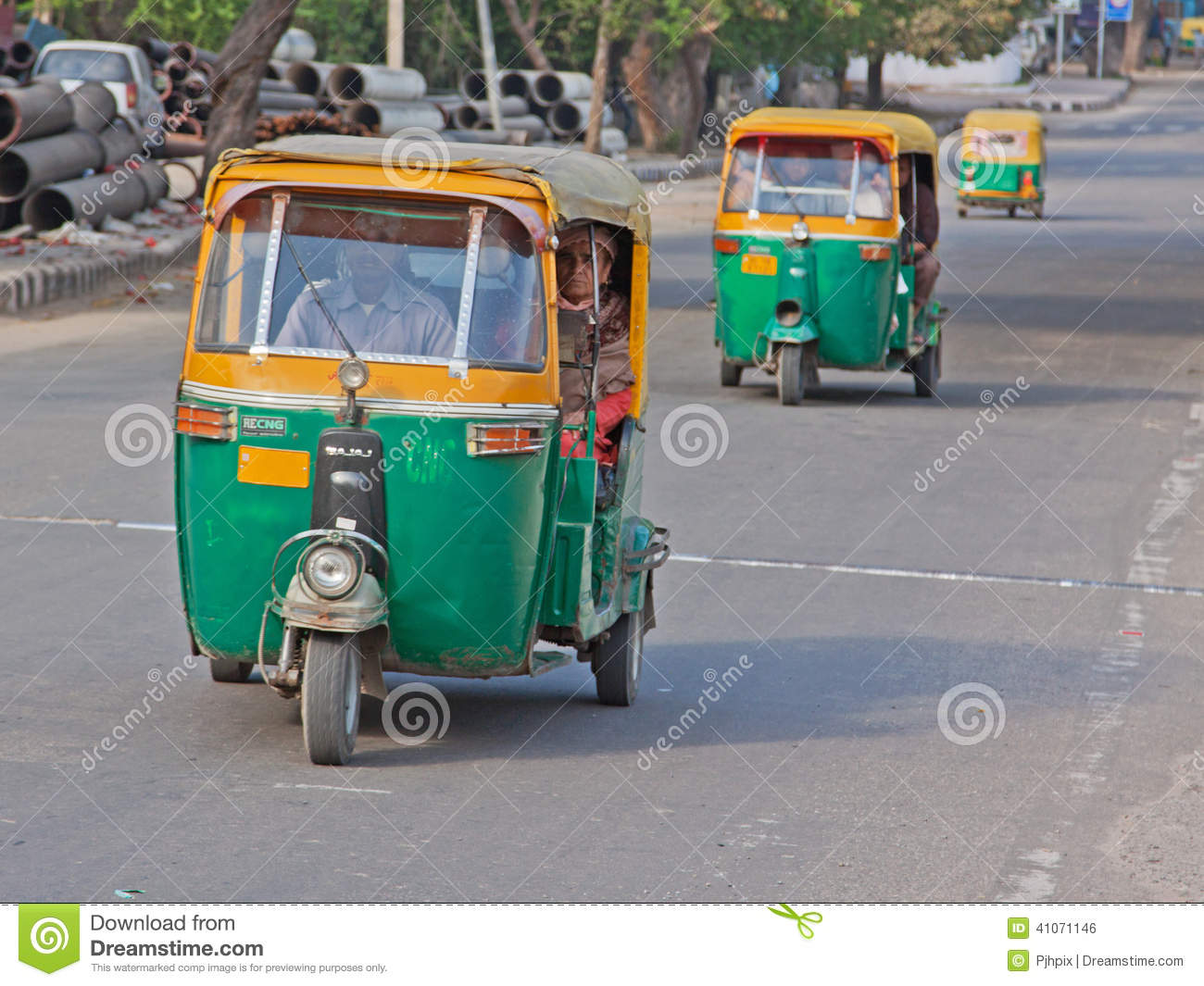 auto rickshaws on the road in delhi editorial photo image 41071146. Black Bedroom Furniture Sets. Home Design Ideas