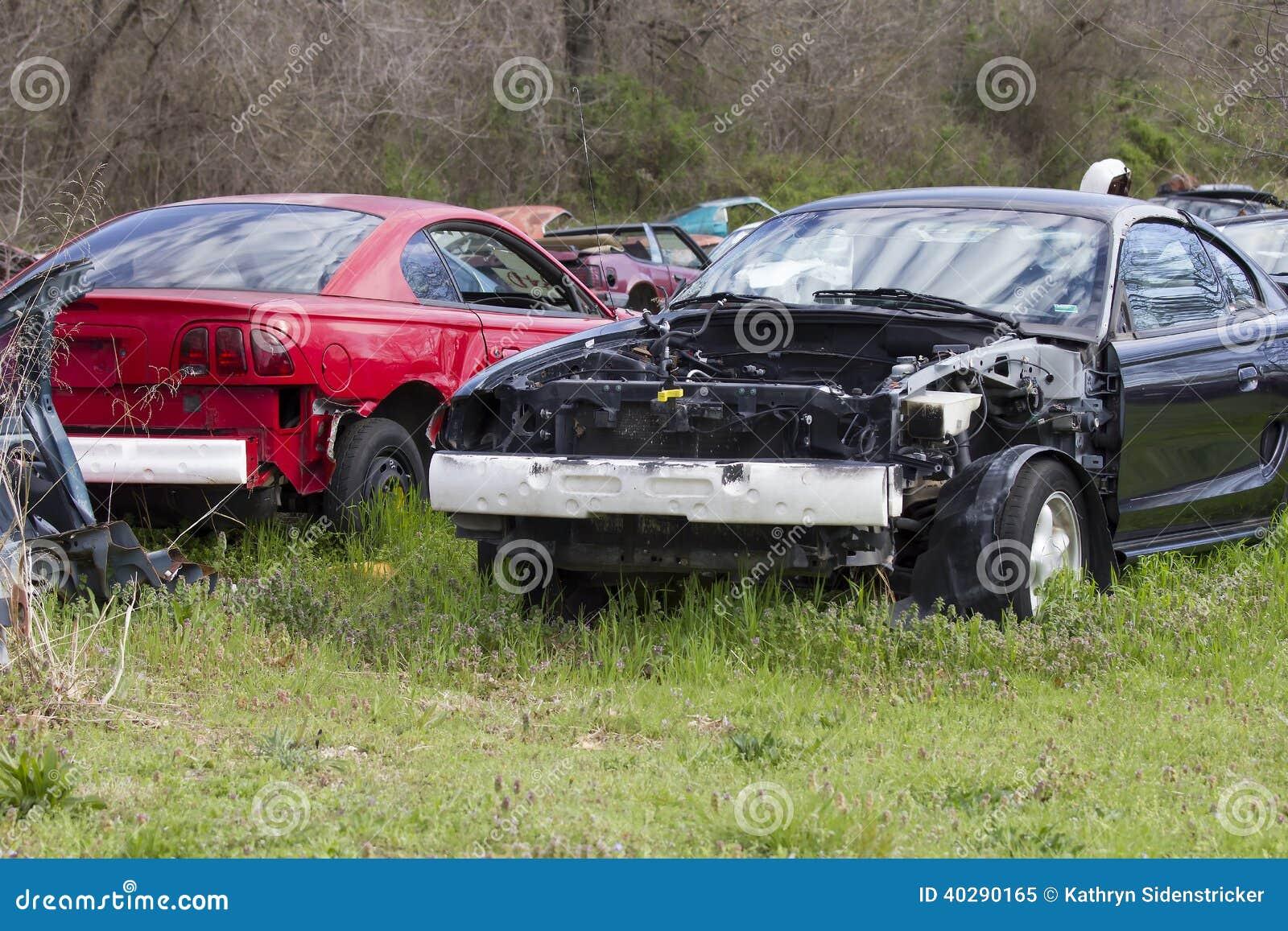Auto Salvage Yard 1994 1998 Mustangs Stock Image Image