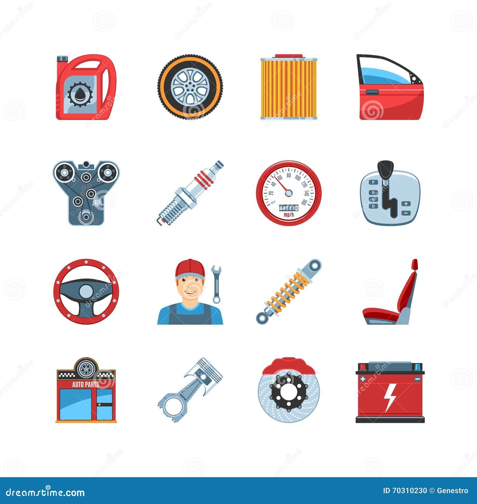 Auto Repair Parts : Auto service icons stock vector illustration of mechanic