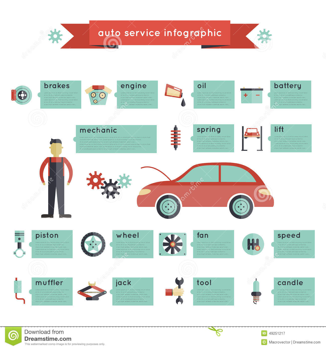 Auto Service Infographics Stock Vector Image 49251217
