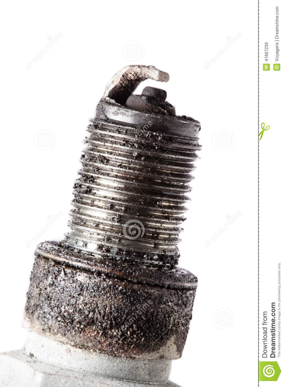Auto Service. Old Spark Plug As Spare Part Of Car. Stock ...