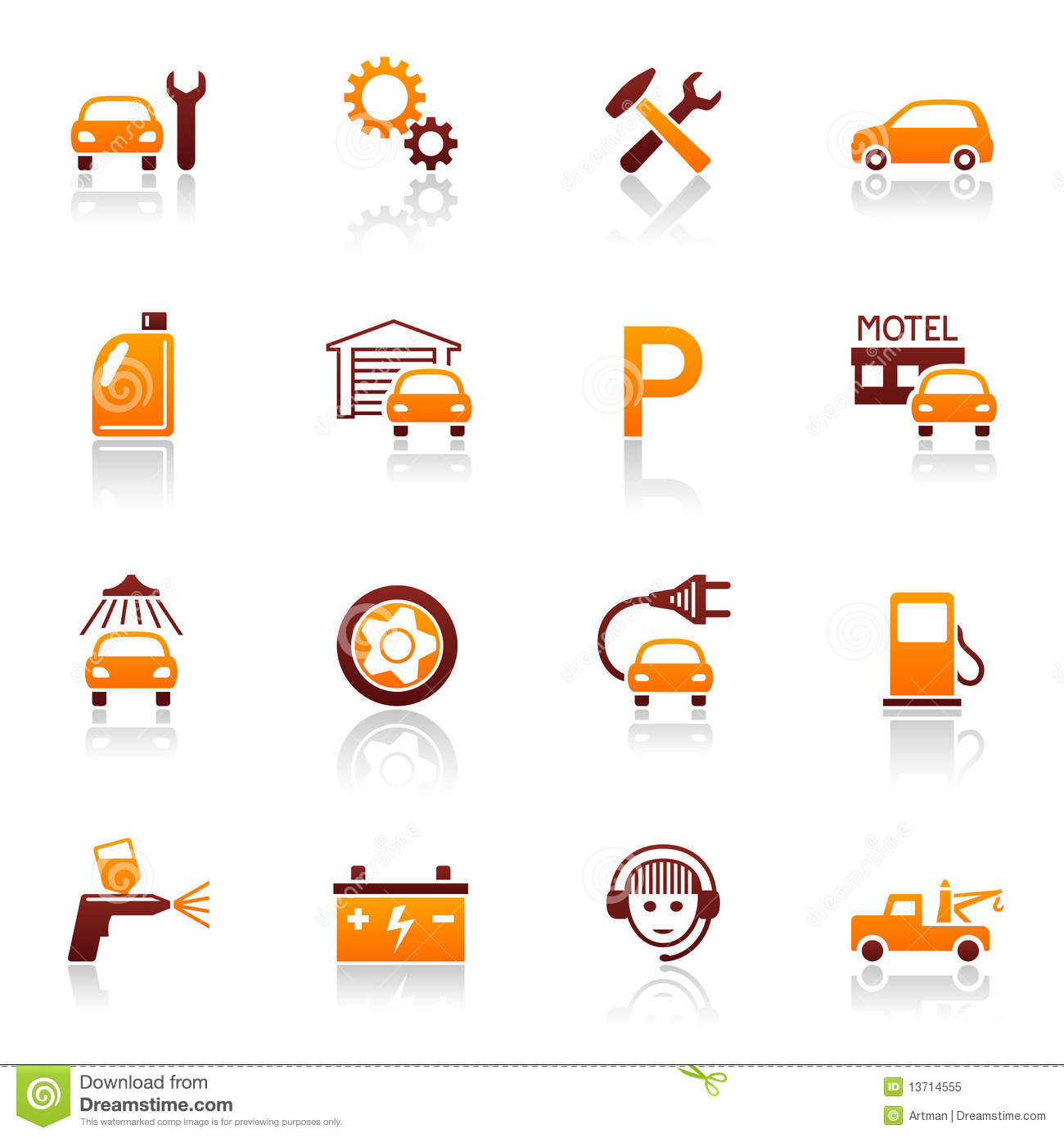 Tractor Parts Icon : Auto service repair icons stock vector illustration of