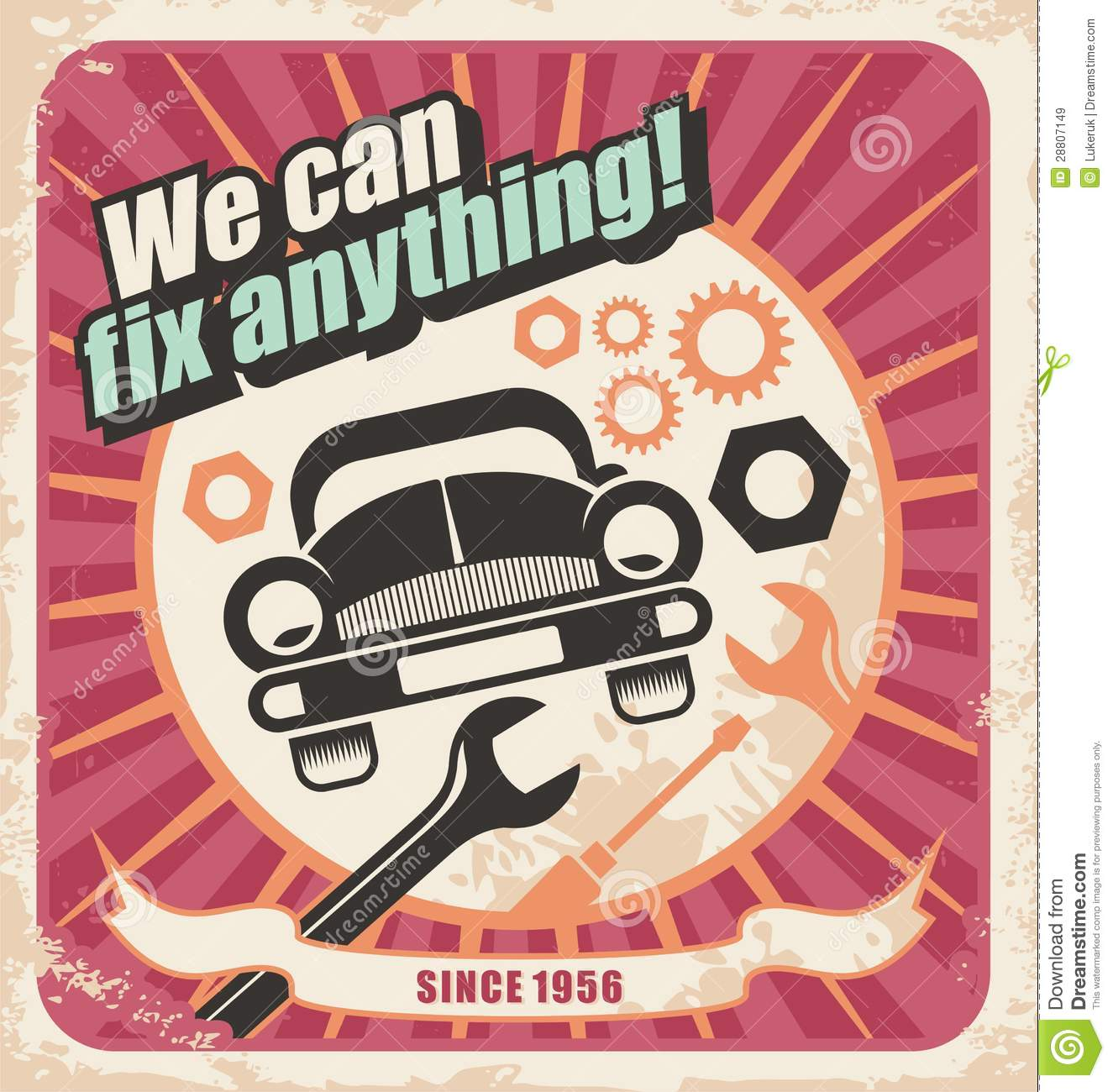 Auto Service Retro Poster Royalty Free Stock Images ...