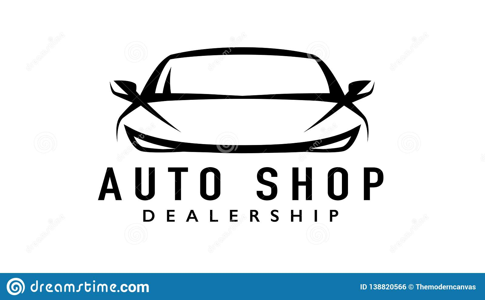 Auto Sports Car Dealership Logo With Silhouette Icon Shape Of A