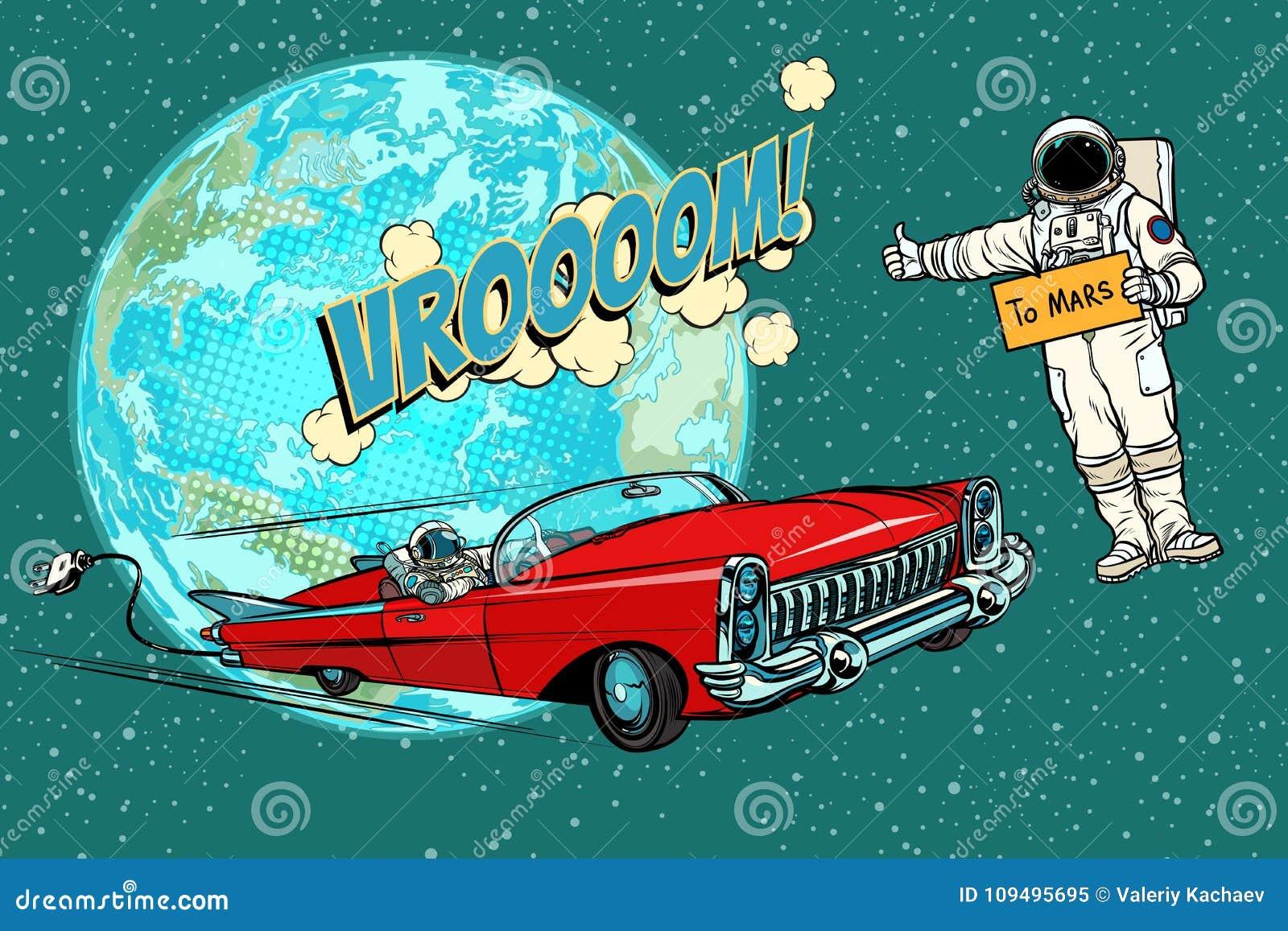 auto stop de l 39 astronaute attendant la voiture lectrique dans l 39 espace fli illustration de. Black Bedroom Furniture Sets. Home Design Ideas