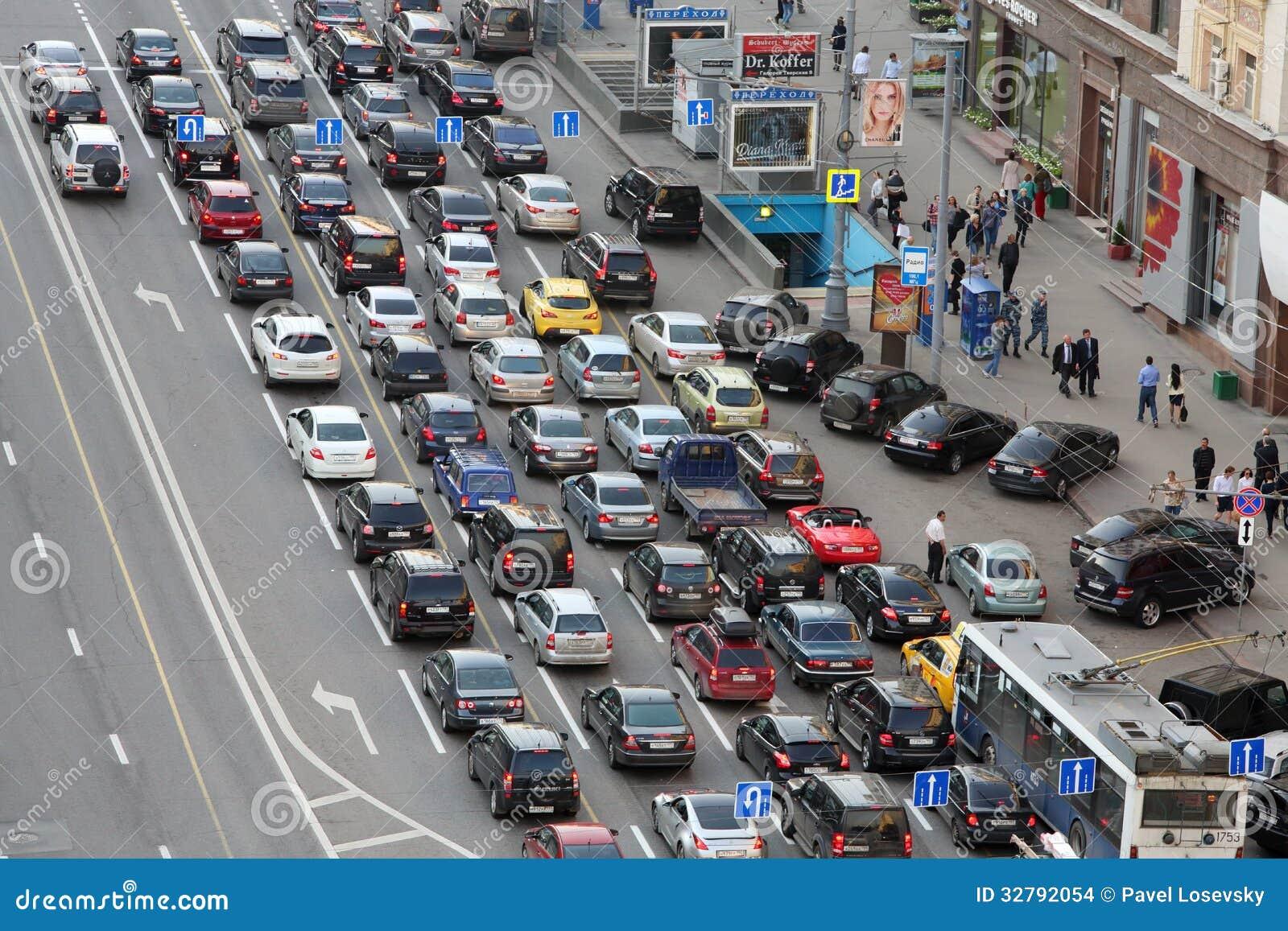 Auto stribunes in opstopping op Tverskaya st.