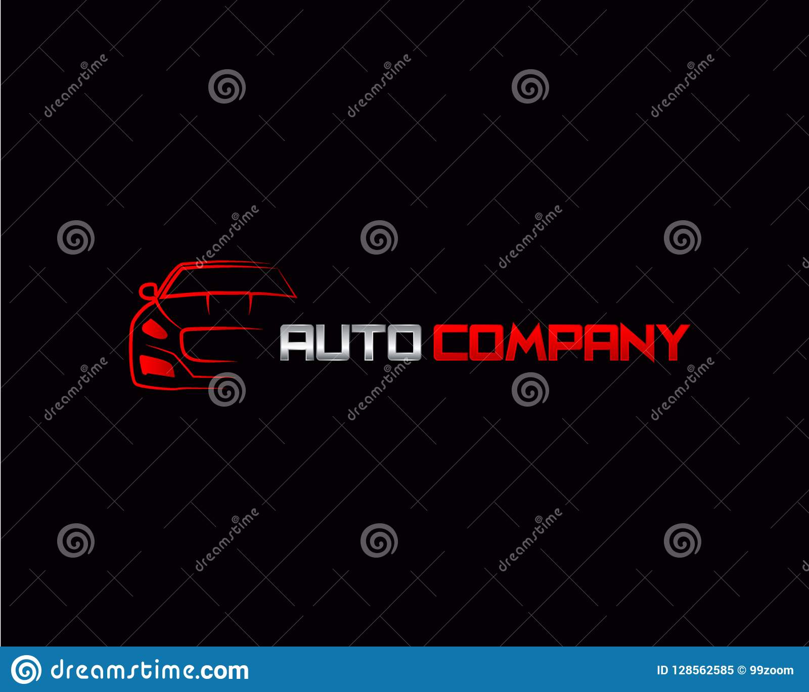 Modern Auto Company Logo Design Concept With Sports Car