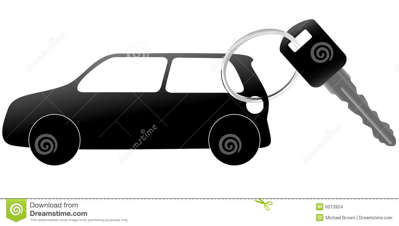 Auto Symbol And Car Key On A Shiny Ring Stock Vector