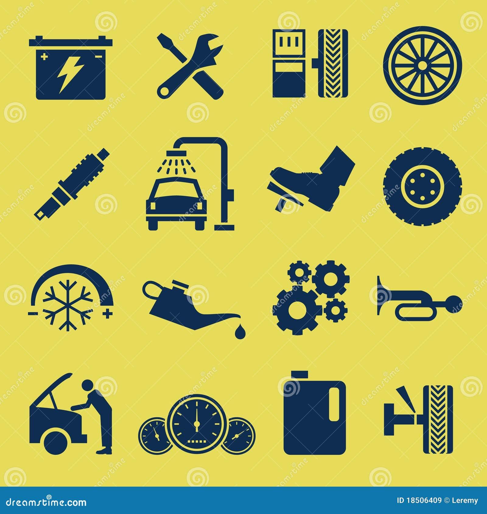 Auto symbol för service för bilsymbolsreparation