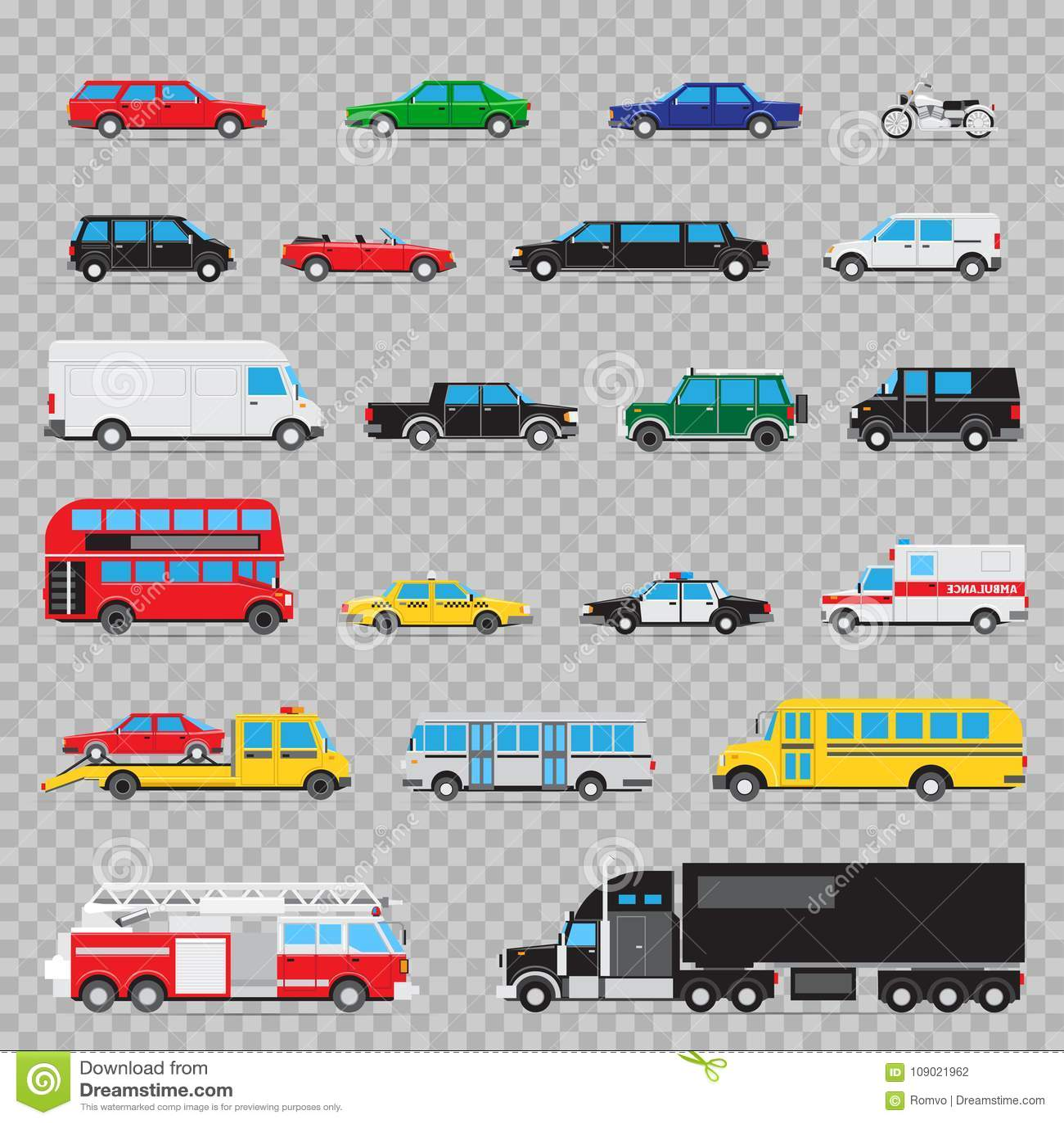 Auto Transport Icon Set Stock Vector. Illustration Of