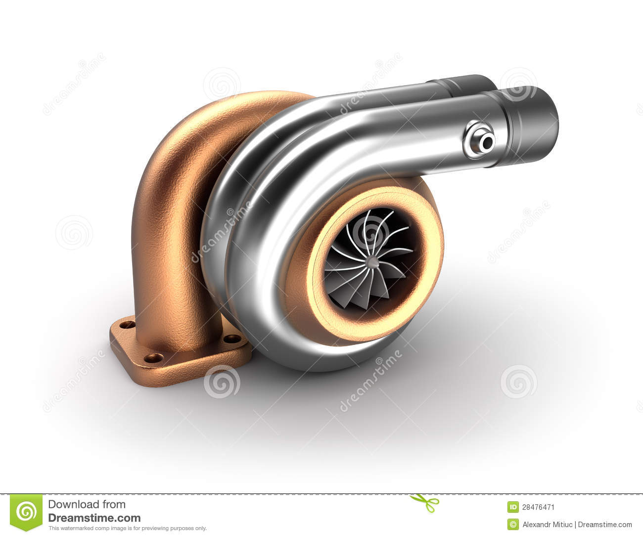 Auto turbine 3d concept steel turbocharger on white for Concept metal