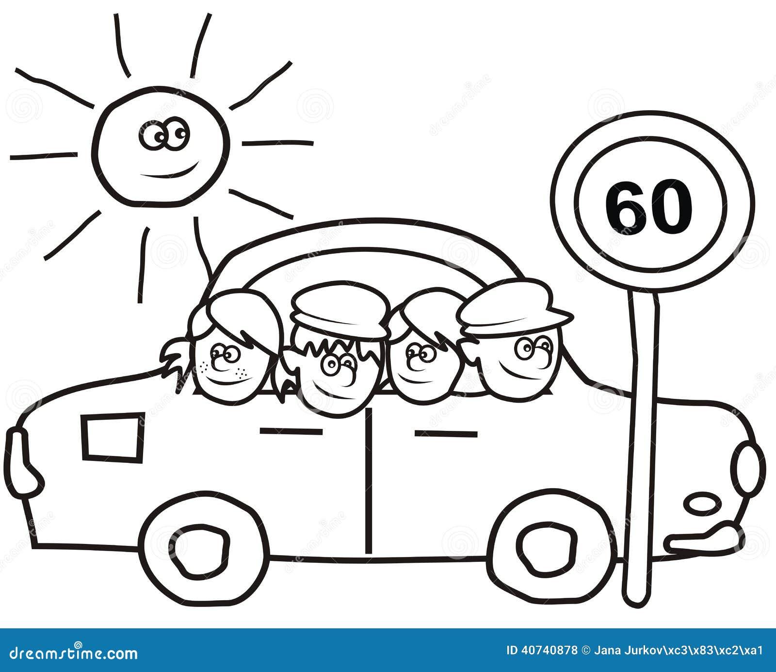 auto und kinder - malbuch vektor abbildung  illustration von auto