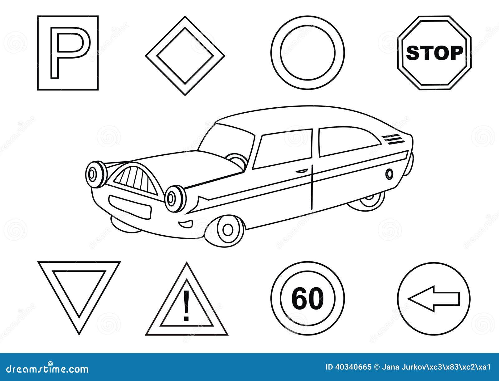 auto und verkehrsschilder - malbuch vektor abbildung
