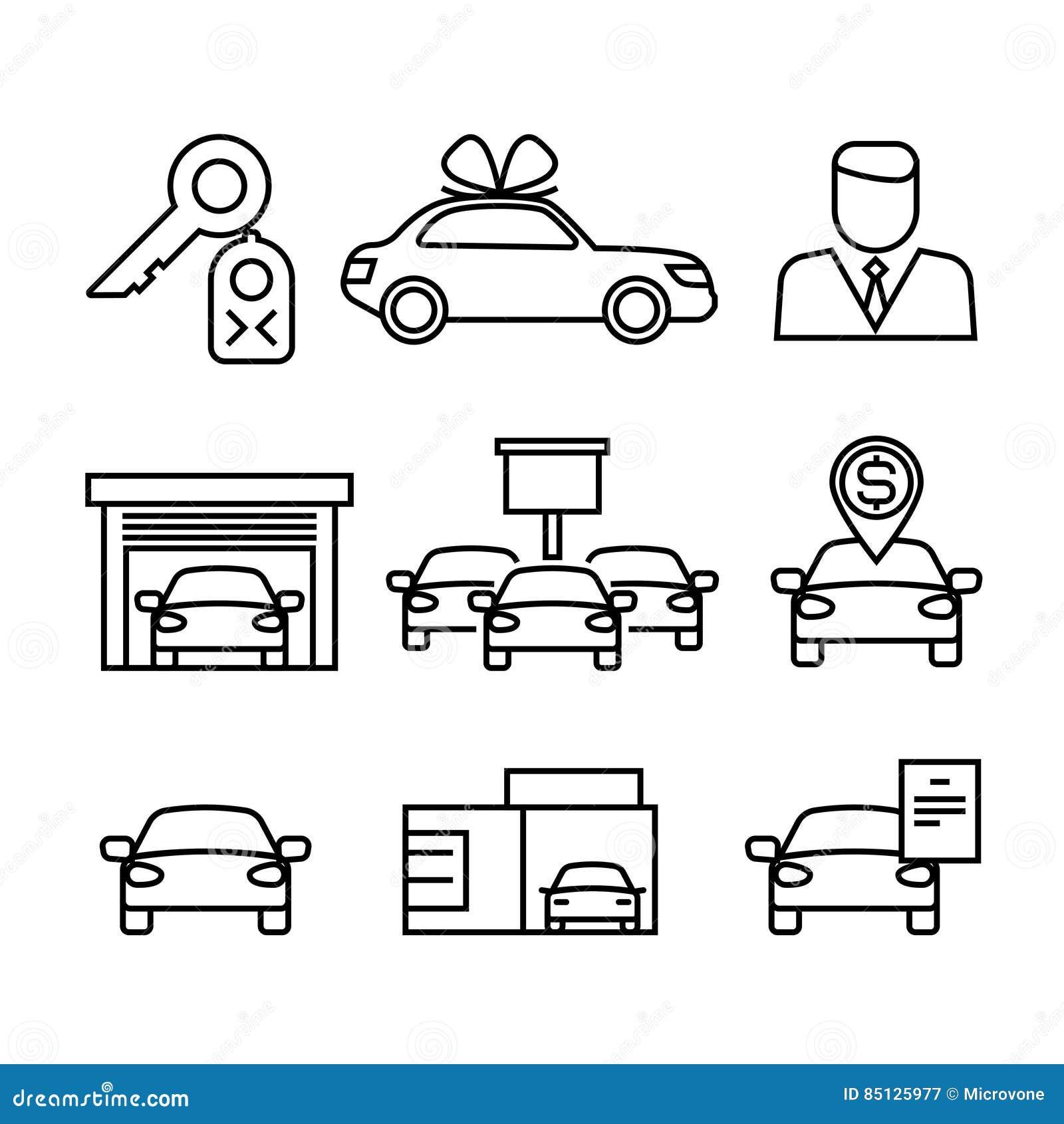 Auto-Vertragshändler, Kauf Und Verkauf Von Autos Zeichnen